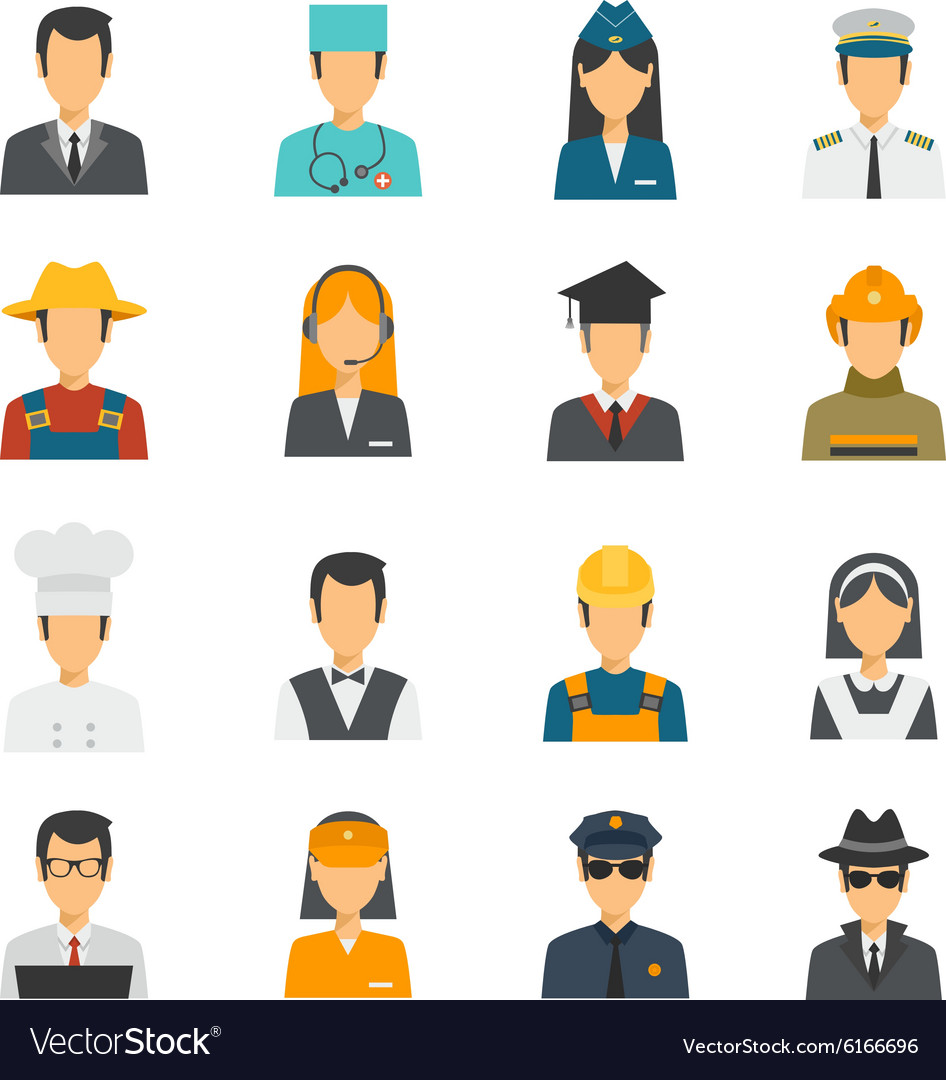 Flat avatar profession set vector