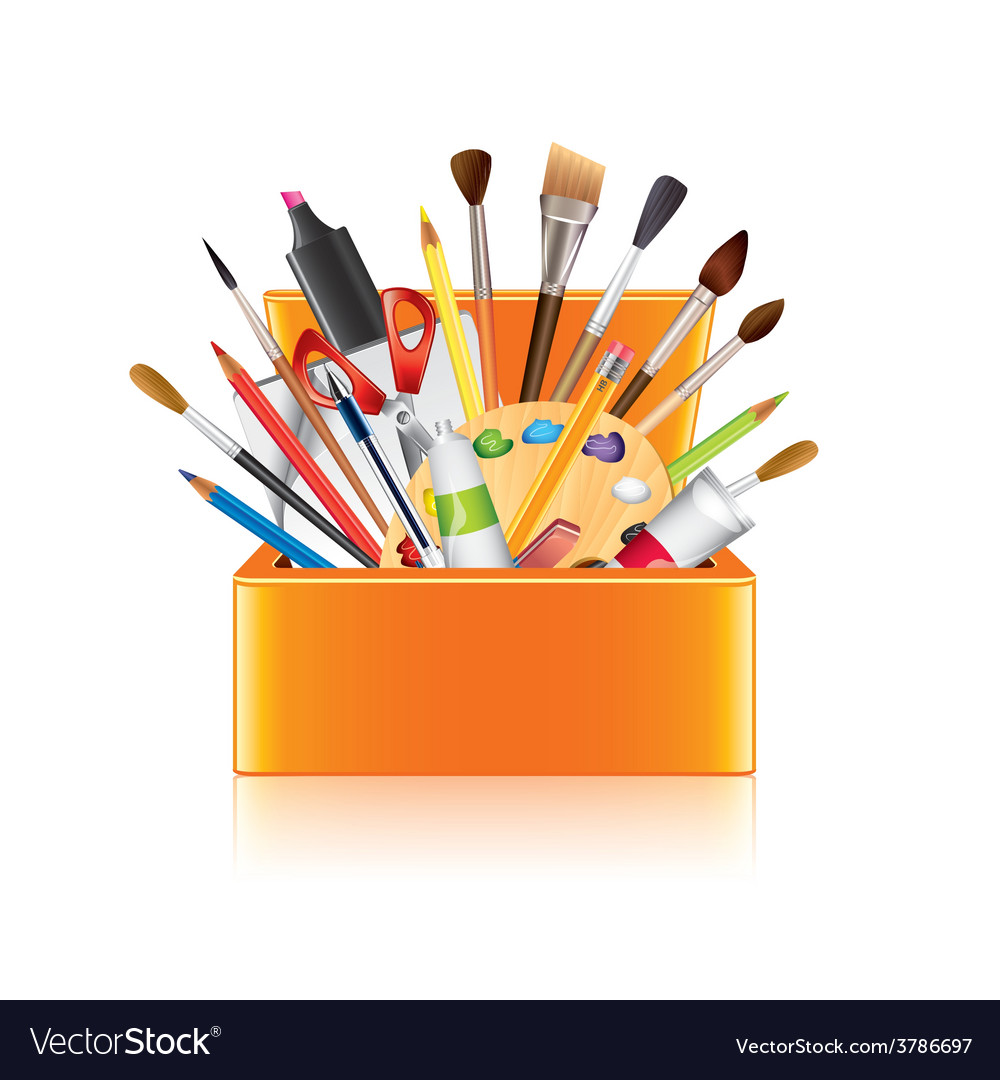 Art supplies box isolated vector