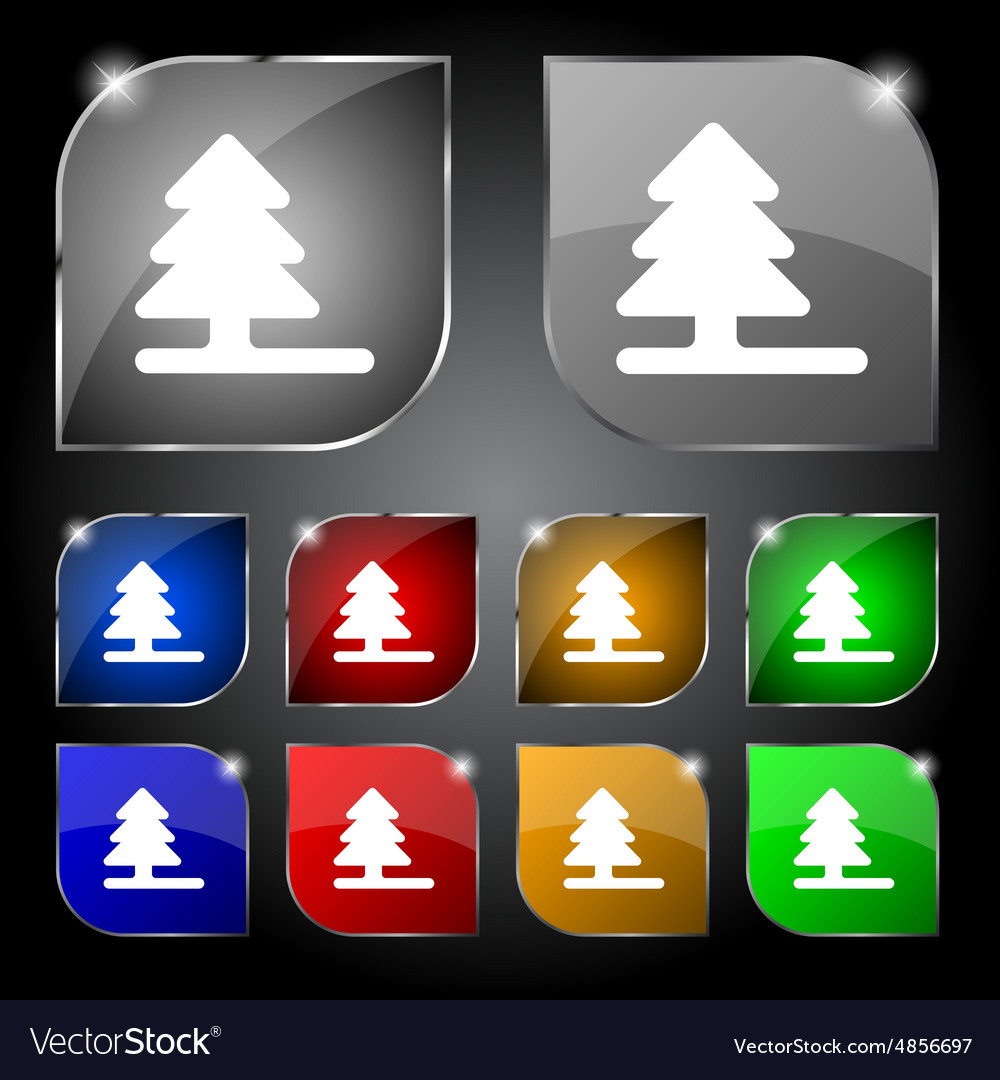 Christmas tree icon sign set of ten colorful vector