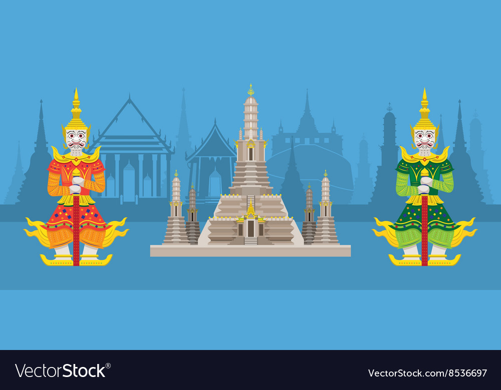Thailand giants and wat arun or temple of dawn vector