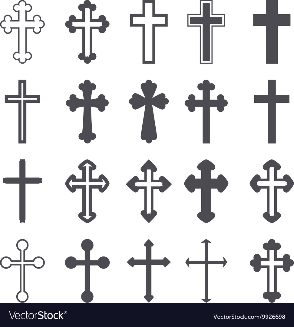 Cross icons set decorated crosses signs or symbols vector