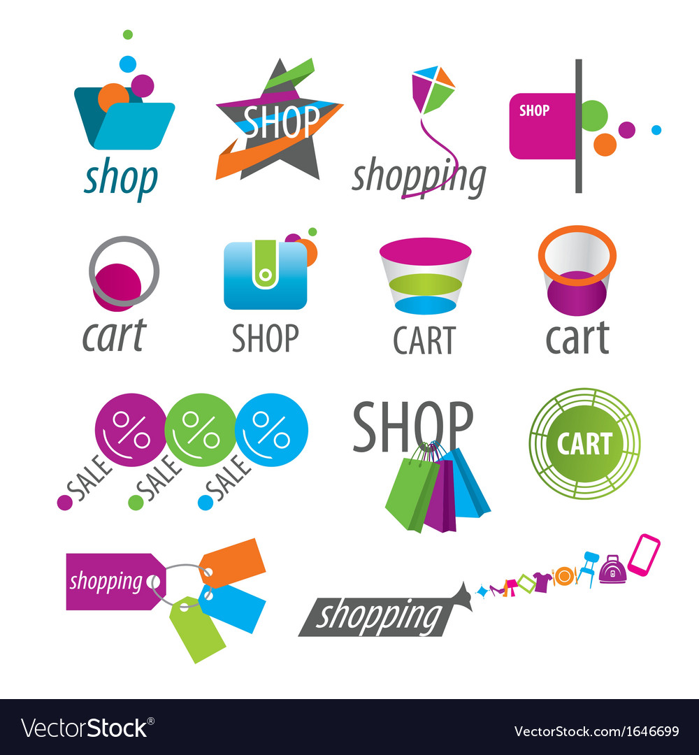 Collection of logos shopping vector