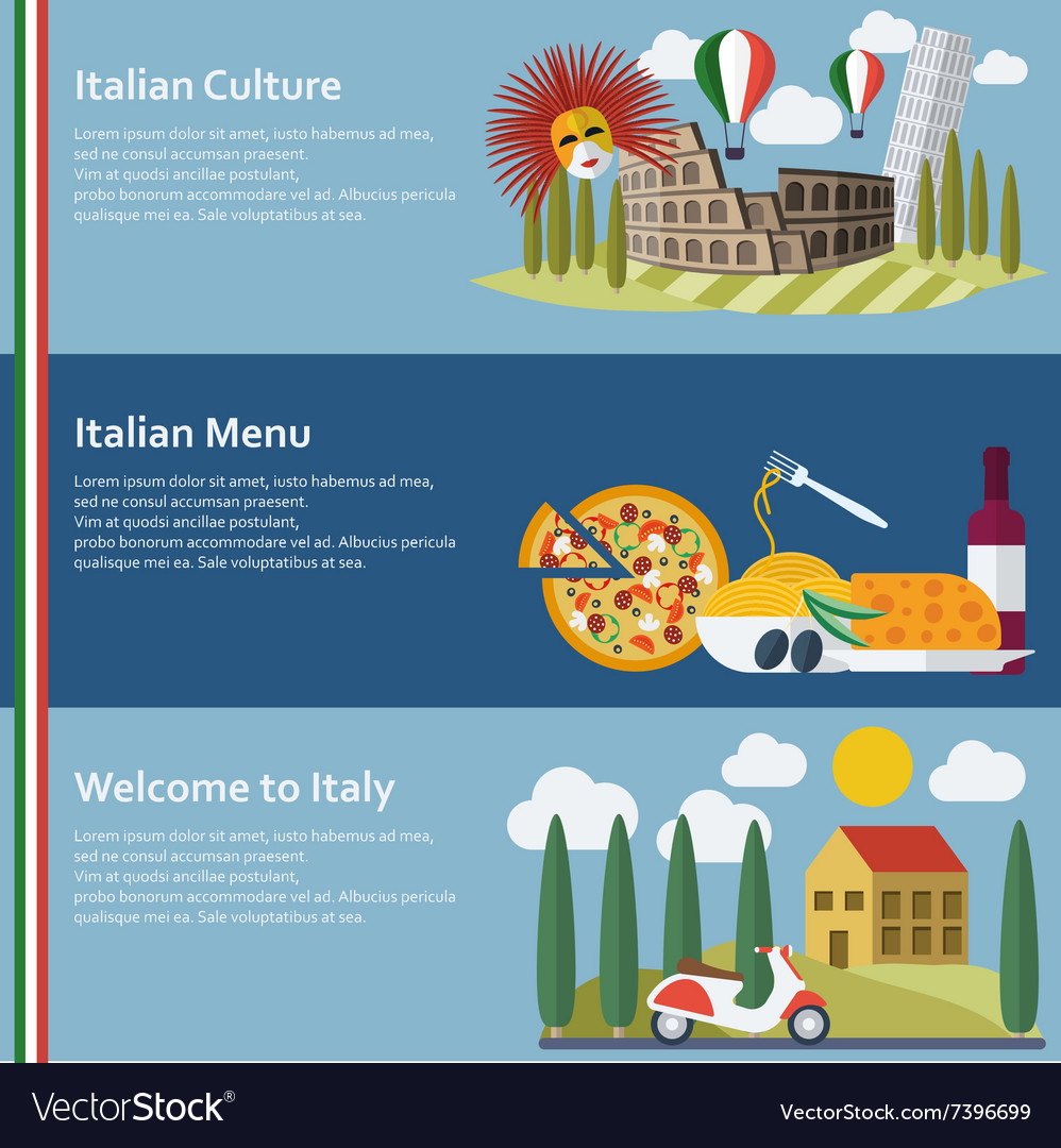 Set of flat italy web banners vector