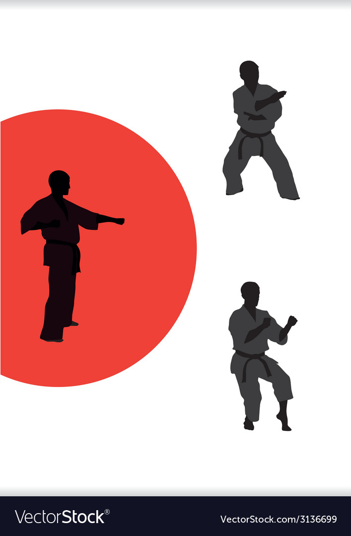 Three men are engaged in karate on a white vector