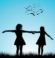 Two girls playing outdoor vector image