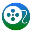 film circular sign  white icon in bluish vector image