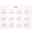 2014 Year calendar on patterned wavy background vector image