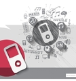 Hand drawn walkman icons with icons background vector image vector image