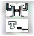 Business card design with letter T vector image