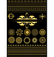 Collection of gold border on black background vector image