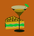 flat shading style icon cocktail and cake vector image
