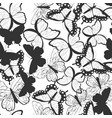 seamless pattern with silhouette butterflies vector image