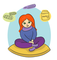 The sick girl vector image