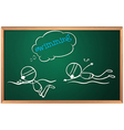 A blackboard with a sketch of two people swimming vector image vector image