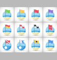 beach warning flags icons flat set vector image
