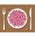 raspberries on a plate vector image vector image