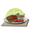 cutlets and tomato sauce vector image
