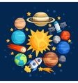 Background of solar system planets and celestial vector image