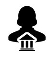 bank icon with person profile female avatar symbol vector image