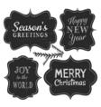 Chalkboard style vintage labels for christmas vector image