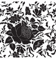 floral seamless pattern flower rose silhouette vector image