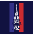 Hand drawn concept logo with Eiffel Tower with vector image
