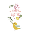Happy Easter floral design with yellow bird vector image