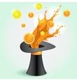 Magic hat whith orange Juice Splash vector image