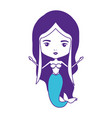mermaid with purple hair on color sections vector image