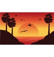 On the river dinosaur pterodactyl scenery vector image