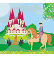 Prince riding a horse to the castle vector image