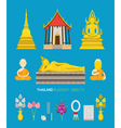 Thailand Buddhist Objects Set vector image