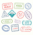 visa stamps that put at airport by customs vector image