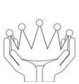 winner hands with crown isolated icon vector image