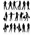 silhouette of girls vector image vector image