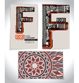 Ancient Business card design LETTER F vector image