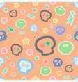 Funny seamless scull pattern Orange background vector image