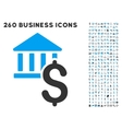 Dollar Bank Icon with Flat Set vector image