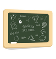 School icons on chalkboard vector image