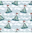 Sailing ship on the waves vector image