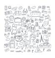 Hand drawn travel tourism doodles elements vector image