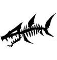black graphic dead fish skeleton with bones vector image