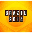 Brazil 2014 football poster Bright yellow-orange vector image