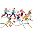 Business people group run on graph line vector image