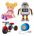 doll and other toys on white background vector image
