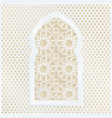 Golden and white arabic ornamental mosque window vector image