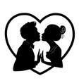 lovers kiss on background of big heartsilhouettes vector image