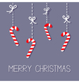 Merry Christmas Hanging Candy Cane Dash line with vector image