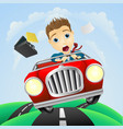 young businessman driving fast classic car vector image