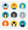 set of women avatars in flat style different vector image